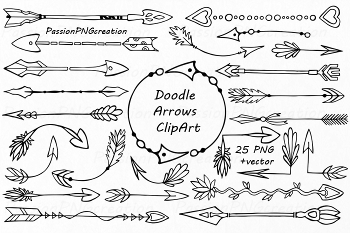 Hand drawn arrow clip. Arrows clipart doodle