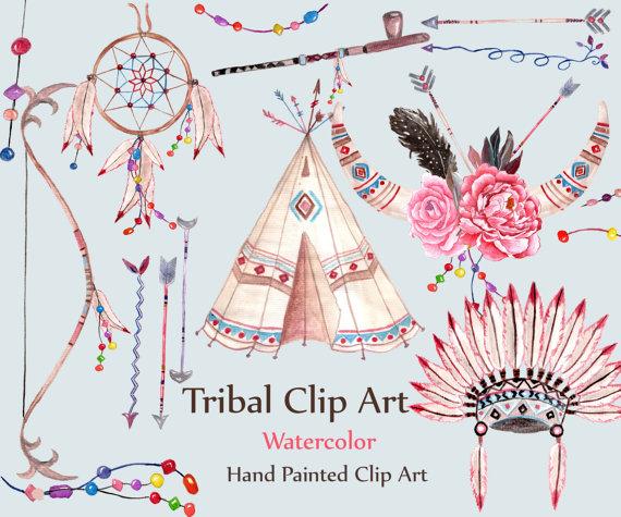 Watercolor tribal clip art. Arrows clipart dream catcher