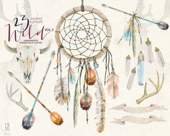 Watercolor skull antlers feathers. Arrows clipart dream catcher