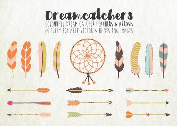Arrows clipart dream catcher. Colorful arrow feather clip