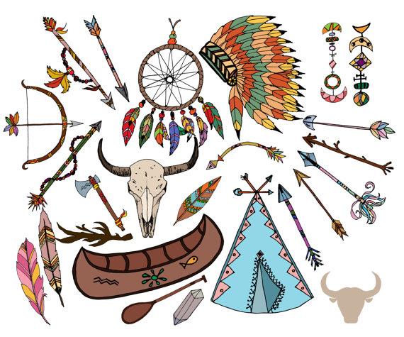 Tribal clip art headdress. Arrows clipart dream catcher