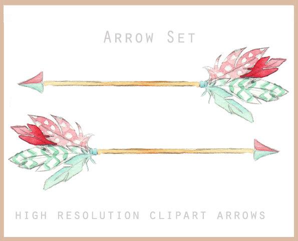 Arrow clipart feather. Set watercolor digital illustrations
