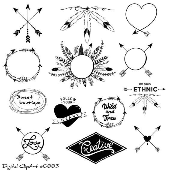 Arrows clipart feather. Tribal clip art digital