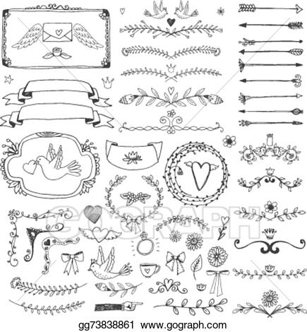Arrows clipart filigree. Vector illustration hand drawn