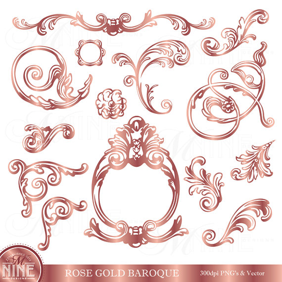Rose gold clip art. Arrows clipart filigree
