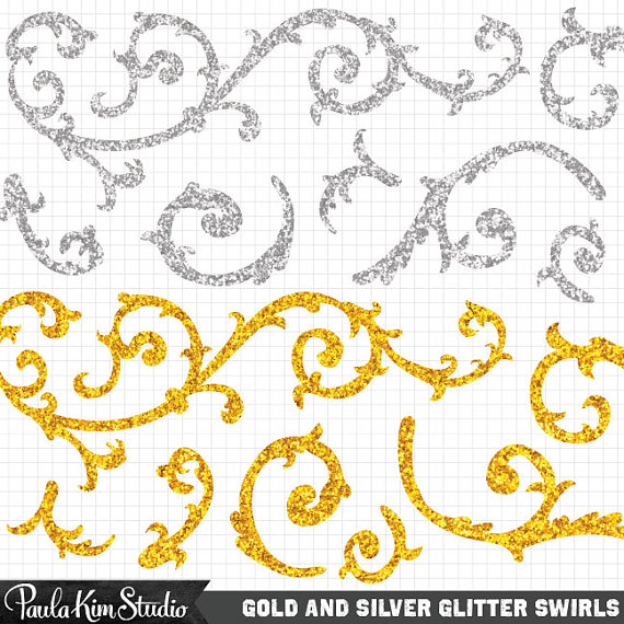 Gold and silver glitter. Arrows clipart filigree