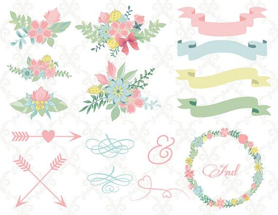 Arrow clipart flower. Digital wedding floral wreath
