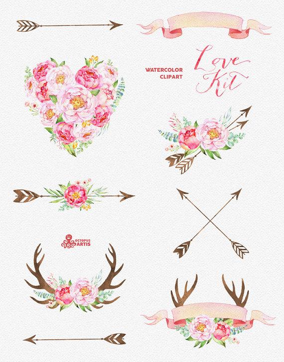Arrow clipart flower. Love kit watercolor flowers