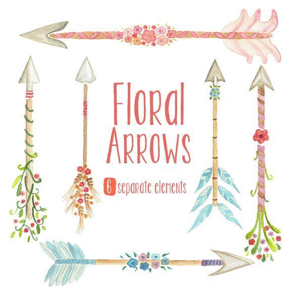 Watercolor floral tribal flowers. Arrows clipart flower