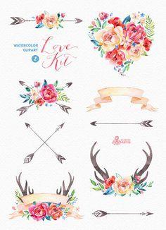 Love kit watercolor peonies. Arrows clipart flower