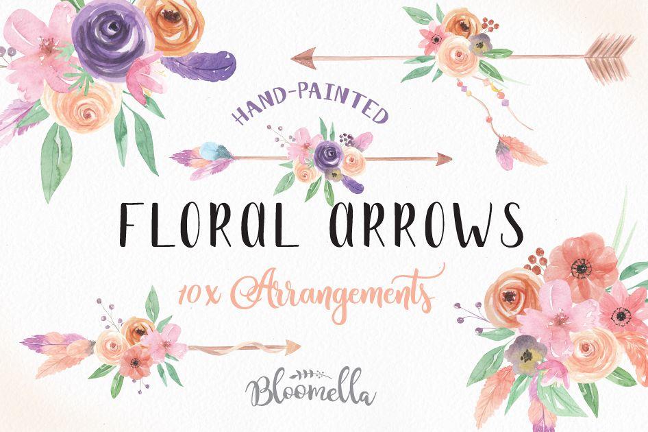 Watercolor arrow bouquets flowers. Arrows clipart flower