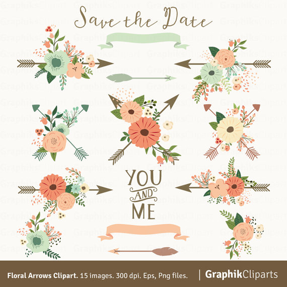 Floral flowers ribbons spring. Arrows clipart flower