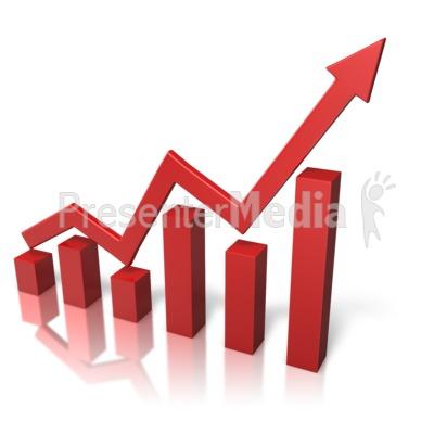 Chart clipart growth. Arrow graph presentation great