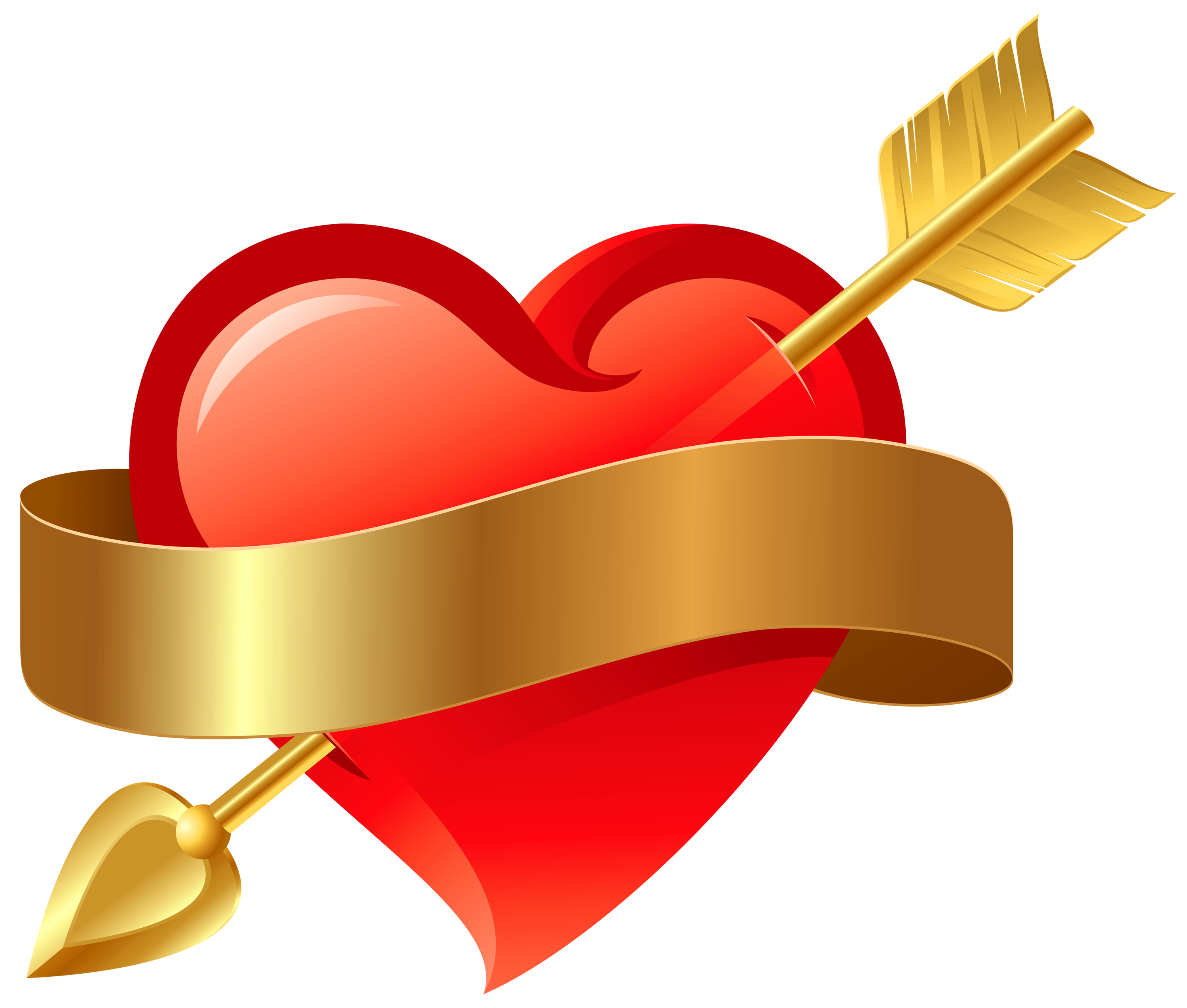 Red heart with arrow. Clipart hearts book