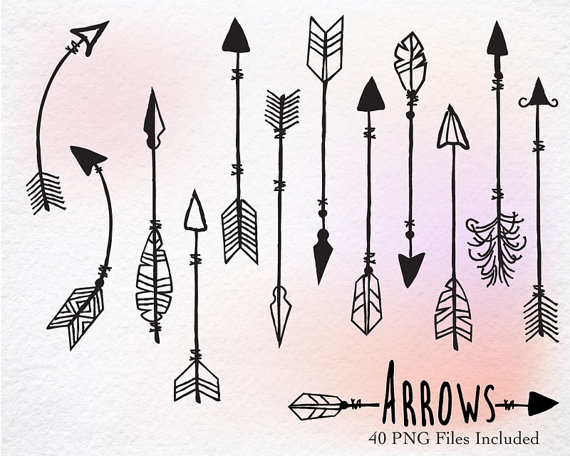 Arrow clipart native american. Digital hand drawn arrows