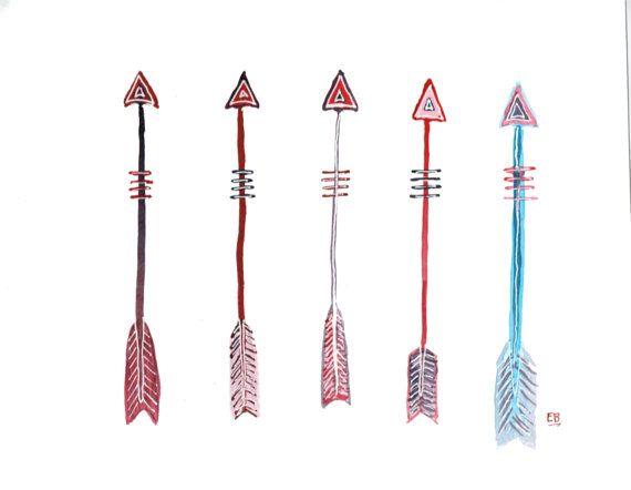 Painting original art boho. Arrows clipart primitive