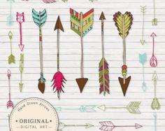 Arrows clipart primitive. Painting original art boho