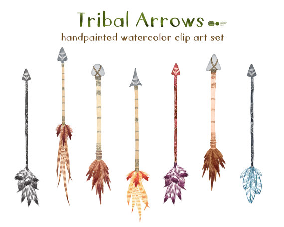 Watercolor tribal clip art. Arrows clipart primitive