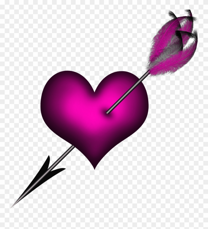 Arrows clipart primitive. Purple heart with arrow