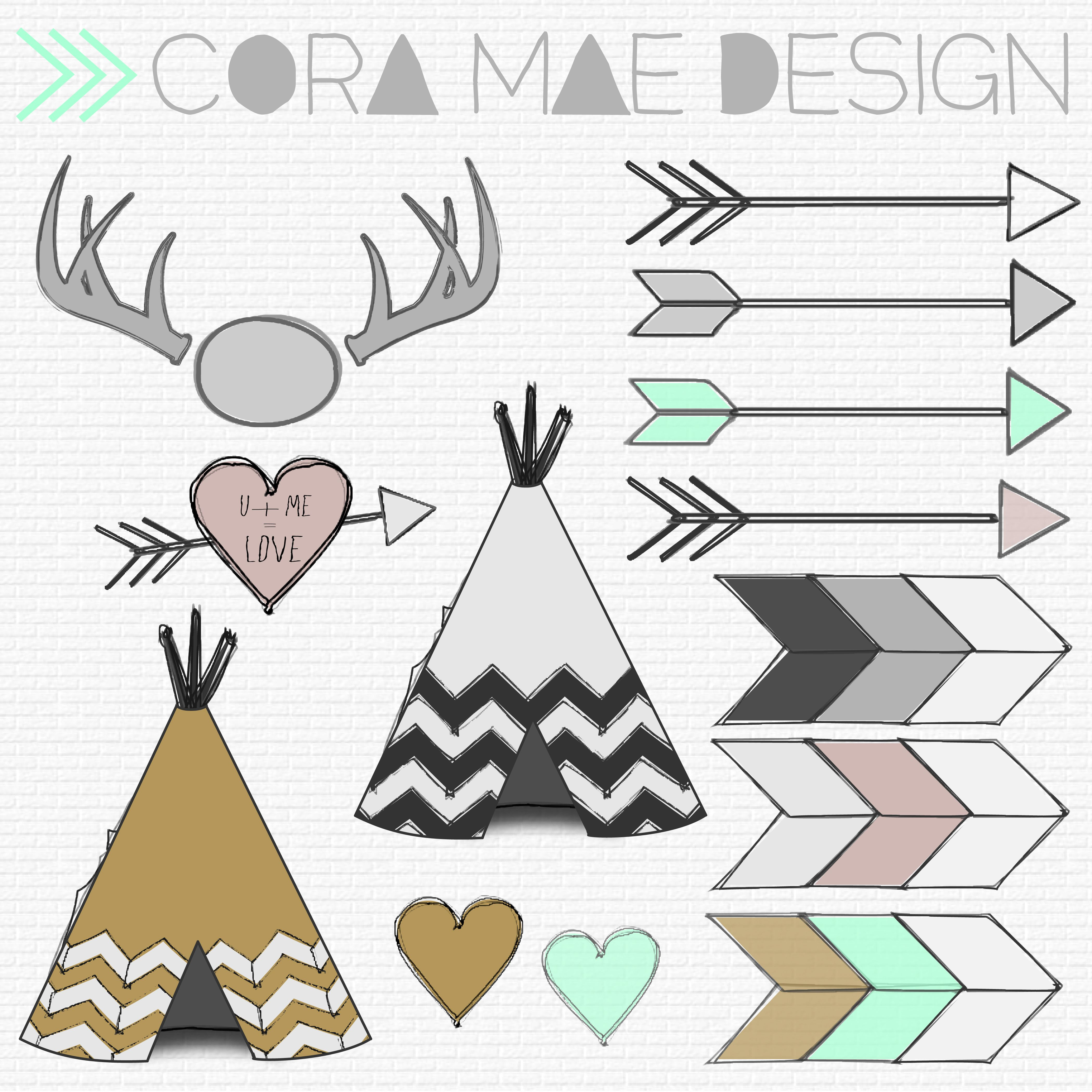 Aztec clipart tribal print. Free prints antlers and