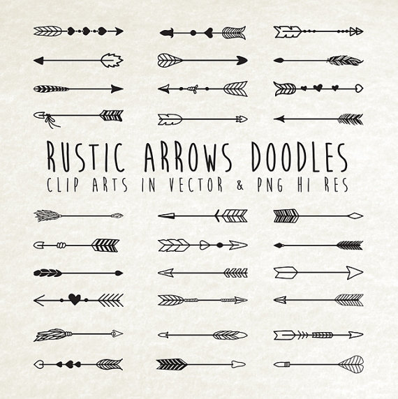 Arrows clipart rustic. Hand drawn arrow doodle