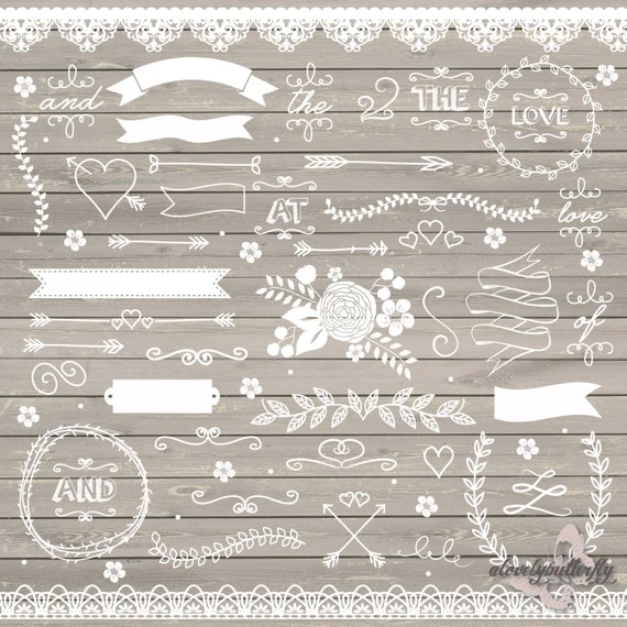 Wedding rustic lace flower. Arrows clipart shabby chic