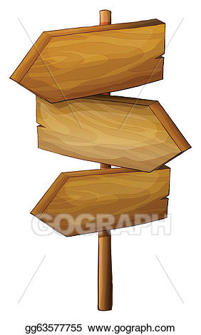 Arrows clipart signboard. Vector illustration blank wooden