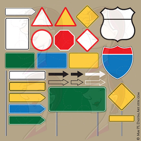 Arrows clipart signboard. Blank road signs highway