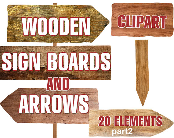 Arrows clipart wood. Digital wooden sign boards