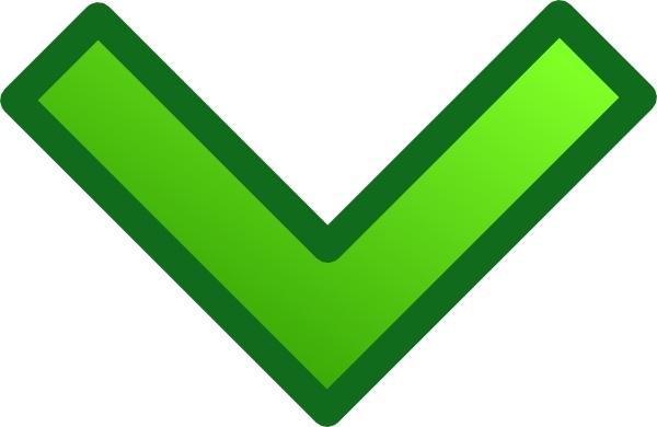 Green down set clip. Arrow clipart single