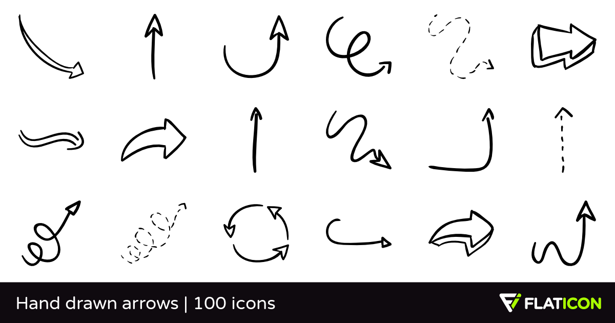 Arrows clipart sketch. Hand drawn free icons