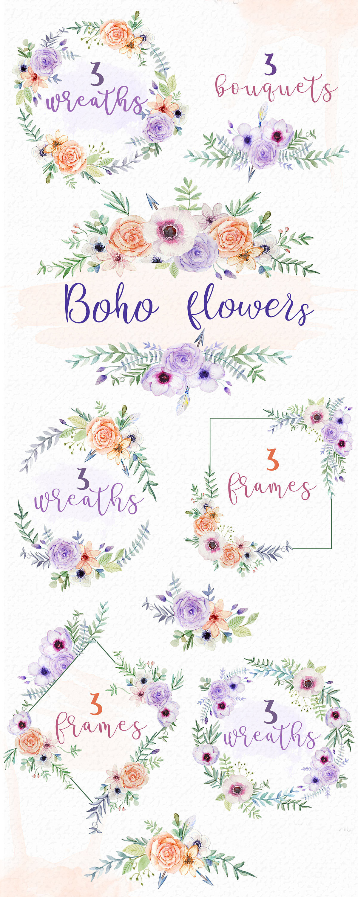 Watercolor boho wreath frame. Arrows clipart trendy