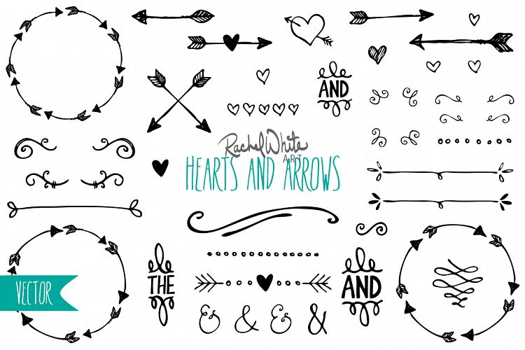 Hearts by rachel white. Arrows clipart vintage