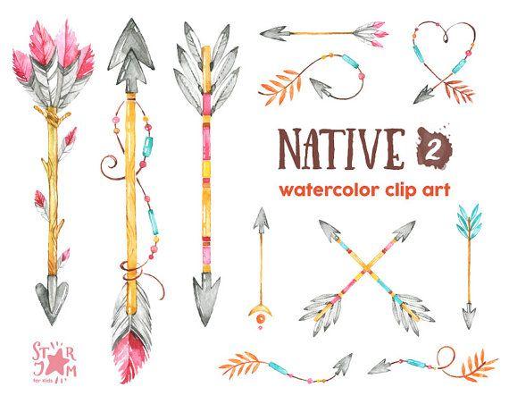Arrowhead clipart arrowhead indian. Native arrows watercolor feathers