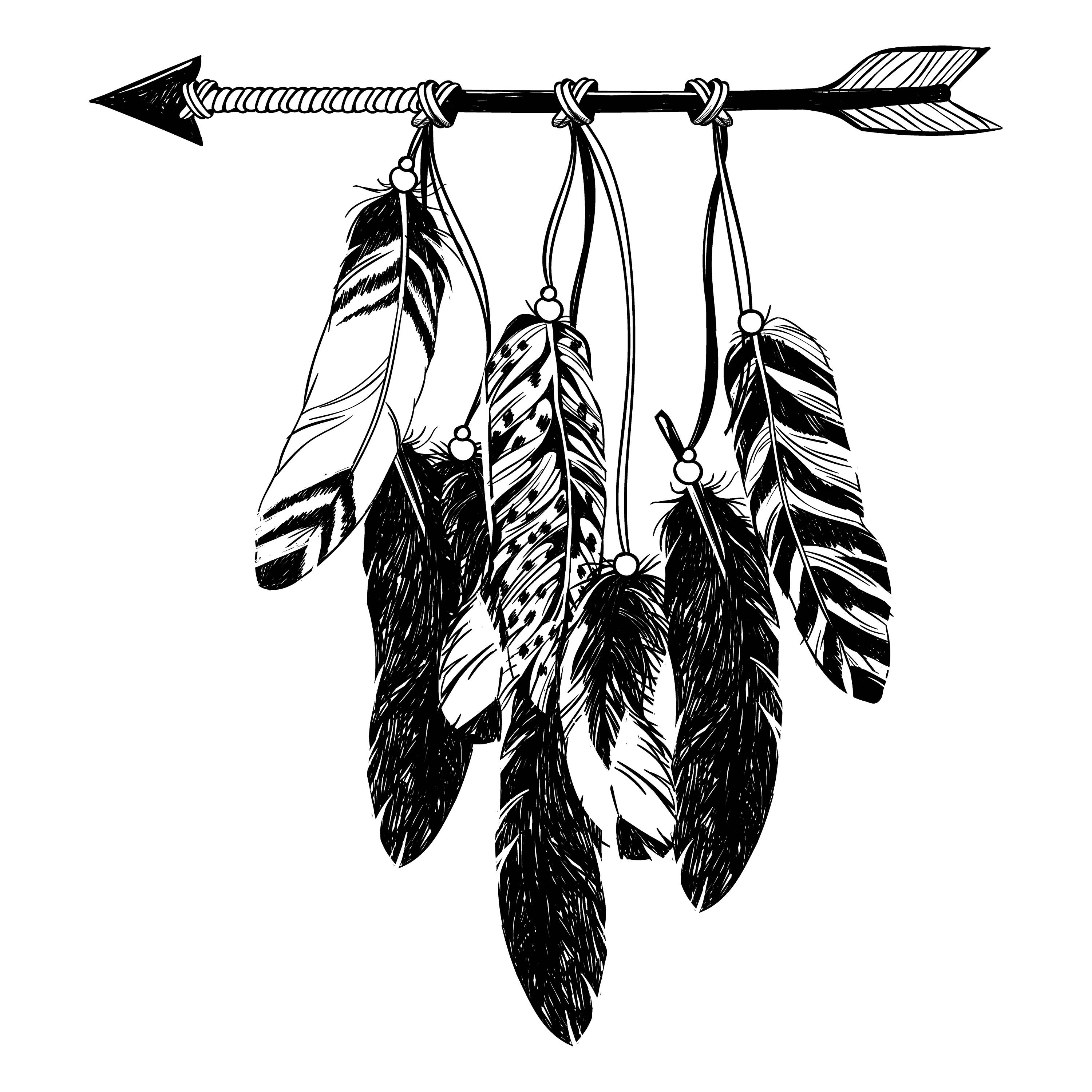 Boho clipart drawing. Arrow feather at getdrawings