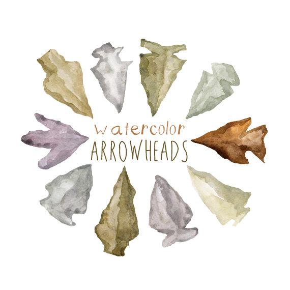 Watercolor arrowheads nature clip. Arrowhead clipart plant
