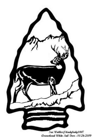 White tail deer animals. Arrowhead clipart scroll saw