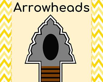 Etsy arrowheads thematic unit. Arrowhead clipart stone age
