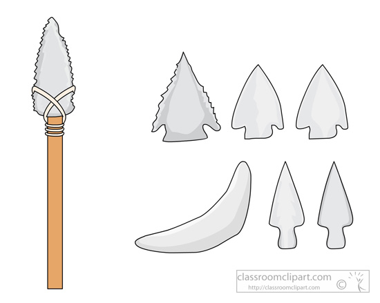 Arrowhead clipart stone age.  collection of tools