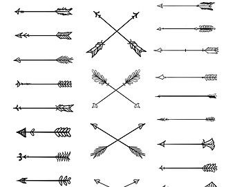 Wild arrows hand drawn. Arrowhead clipart tribal