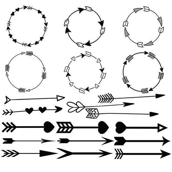 Arrowhead clipart vector. Arrow svg circle heart