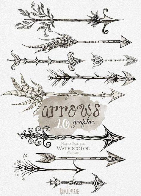 Arrows hand drawn clip. Arrowhead clipart warrior