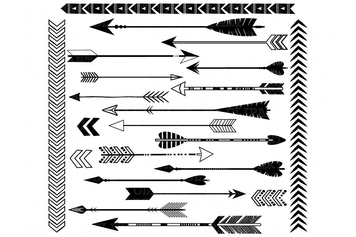 Black illustrations creative market. Arrows clipart