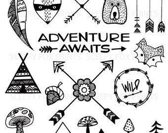 Arrows clipart adventure. Woodland clip artdeer owl