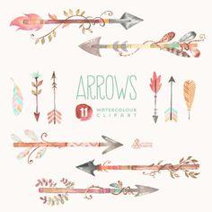 Arrow w peacock feathers. Arrows clipart artsy