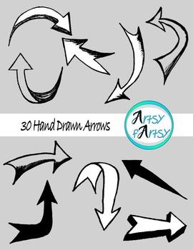 Arrows clipart artsy. Hand drawn in black