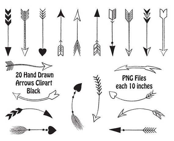 hand drawn tribal. Arrows clipart black and white