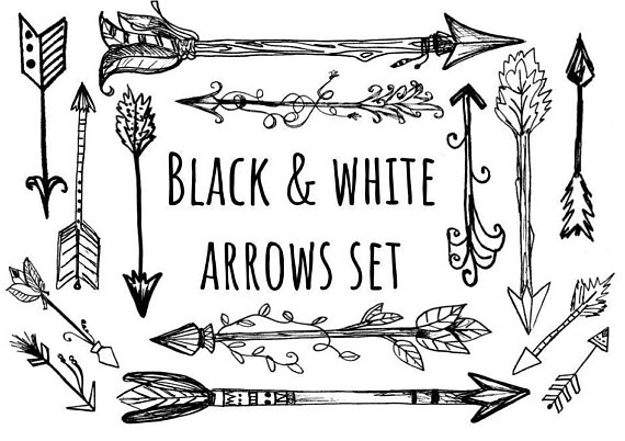 Arrows clipart black and white. Hand drawn woodland