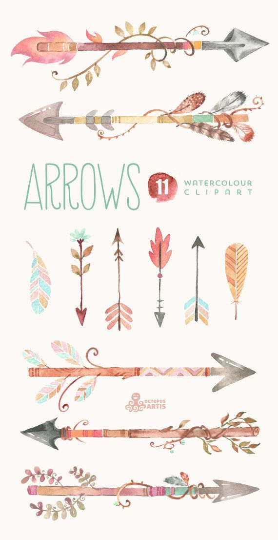 Watercolor hand painted elements. Arrows clipart bone