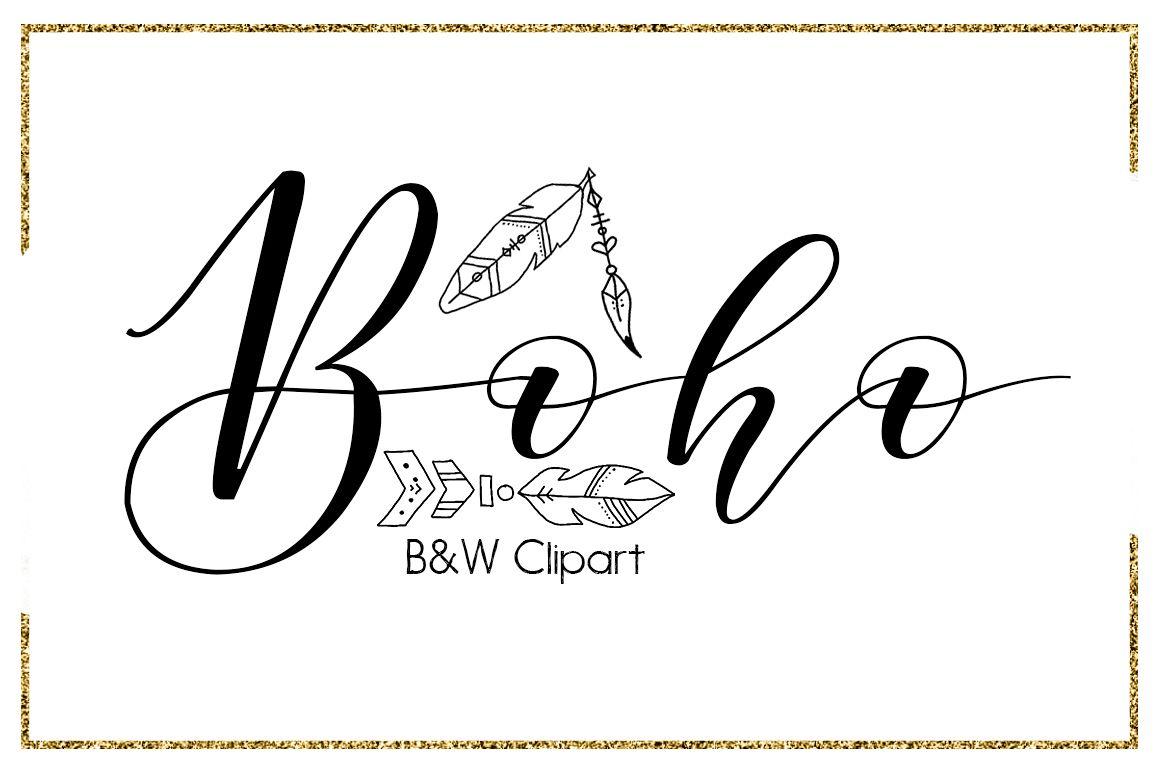Arrows clipart calligraphy. Boho brush strokes digital